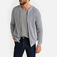 La Redoute Collections Mens Zip-Up Fine Knit Bomber Cardigan