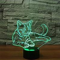 LJNYFかわいい猫3Dナイトライト、アクリルカラフルな省エネLEDライト、モデリングナイトライト、子供用テーブルランプ、スライドライトタッチスイッチ7色変更USB動物テーブルランプ