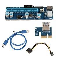 Perfk Ver006C PCI-E エクスプレス1x →16x 電源ライザーアダプターカード  USB3.0 SATA データケーブル アクセサリー 交換部品