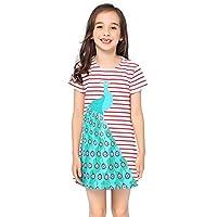 Fiream Girls Summer Cotton Striped Casual Cartoon Shortsleeve Dresses