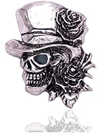 sewanzメンズハロウィンメタルスケルトンスカルwith帽子形状スティックブローチピン、ラペルピンのスーツタキシード