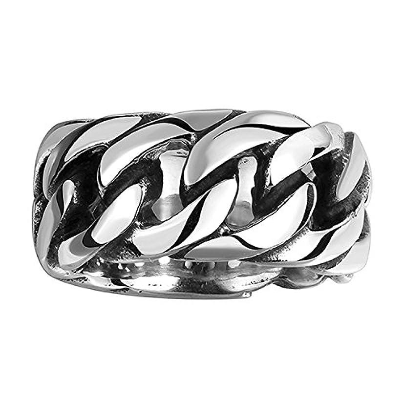 モザイクデイジー陪審Rockyu 人気 アクセサリー 指輪 メンズ ステンレス チェーン シルバー ブラック リング 18号