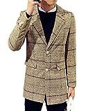 格子柄 ウール調 テーラードジャケット コート 4色展開 ラペルカラー トラッドスタイル 大きいサイズも メンズファッション アウター 上着 ストリートファッション カジュアル フォーマル ビジネス 通勤 通学 オフィス レジャー デート トラベル 旅行 オリジナルアクセサリー付属 NYC0218 (XXXL, カーキ)