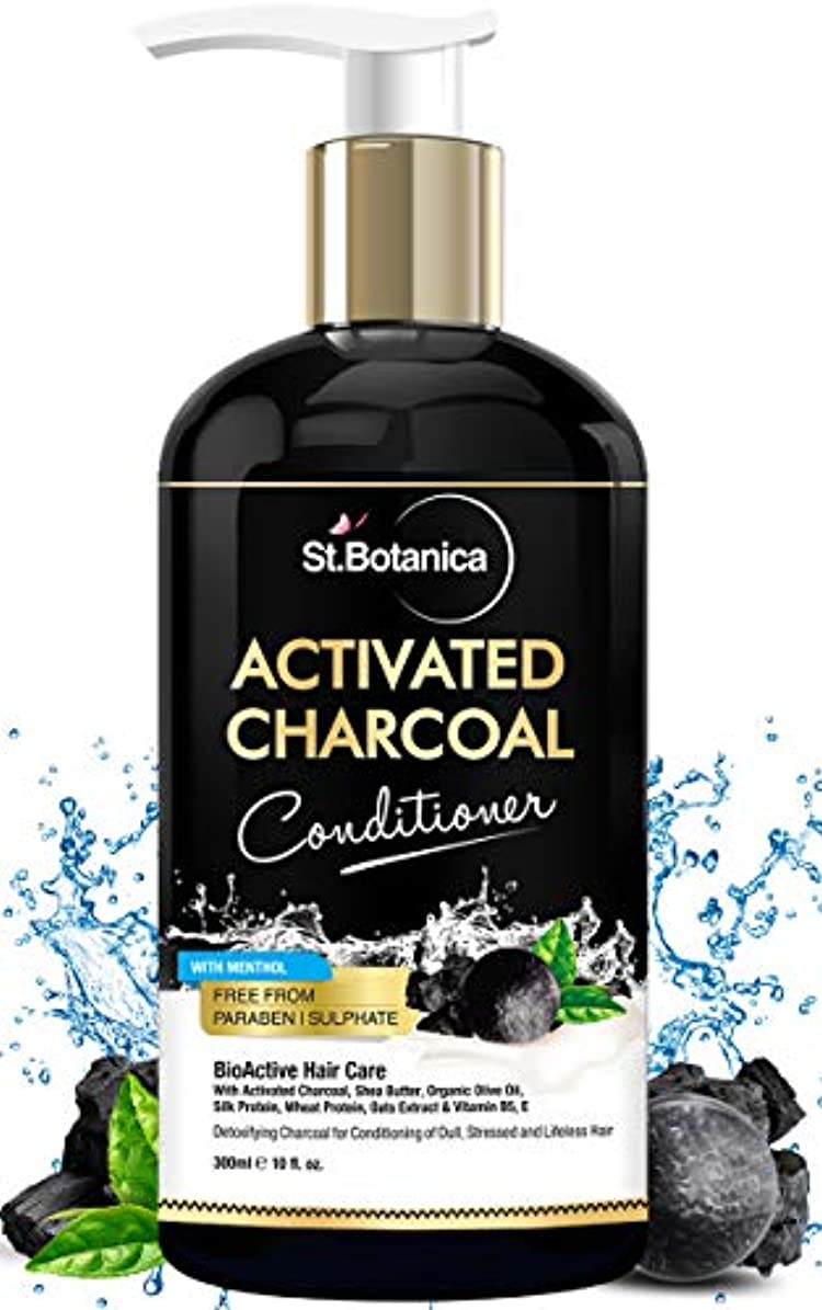 StBotanica Activated Charcoal Hair Conditioner, 300ml - Deeply Purifies and Removes Impurities, Refreshing Menthol...