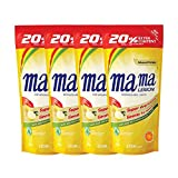 Mama Lemon Dishwashing Liquid Refill, Lemon Gold, 600ml (Pack of 4)