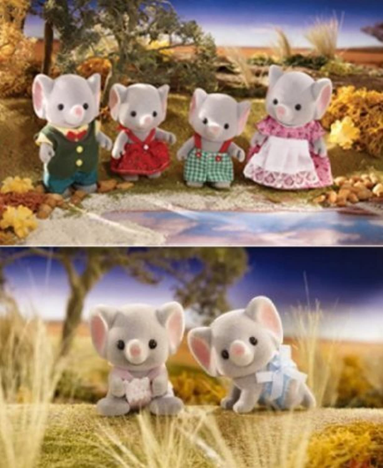 Calico Critters Ellswood Elephant Family Baby Twin Set 6 Figures by Calico Critters [並行輸入品]