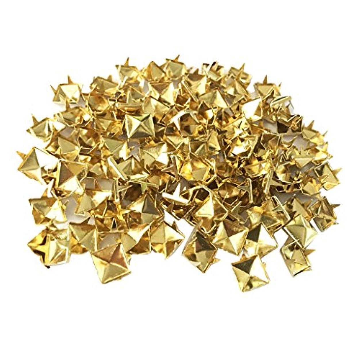 写真の精神的に球体リベット ピラミッドリベット 四角 工芸品 手作り ドリベットスタッド レザークラフト 4色選ぶ - ゴールド