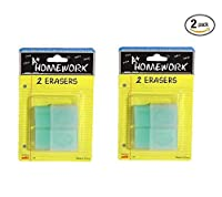(Eraser) - [Bulk Pack] A+ Homework 4 Pieces of Quality Erasers - Stationery Supplies for the Home, Office, or Classroom (4 Total Erasers, 2 Pack of 2 Erasers)
