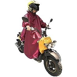 Nedved レインポンチョ 長袖付き 足元ロング丈 バイク 原付 スクーター 自転車 メンズ レディース フリーサイズ ワインレッド