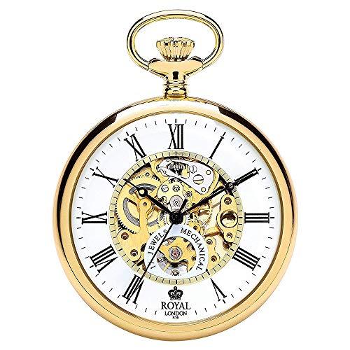 [ロイヤルロンドン] ROYAL LONDON ポケットウォッチ 機械式 手巻き ゴールド スケルトン カバー付き 90049-02 懐中時計 [並行輸入品]
