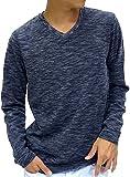 (マルカワジーンズパワージーンズバリュー) Marukawa JEANS POWER JEANS VALUE Tシャツ メンズ ブランド 長袖 ロンT 無地 Vネック 杢 ワッフル サーマル 5color M ネイビー