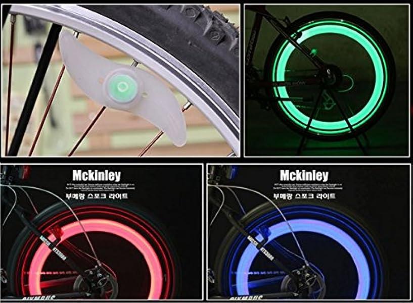 ガレージ抗生物質ランタンタイヤを回すと綺麗な光の輪ができる ユニークアイテム 自転車ホイールLEDライト 【ブルー レッド グリーン 3色セット】 取付簡単カスタマイズ 事故防止 反射板 オシャレ 学生 通勤 通学