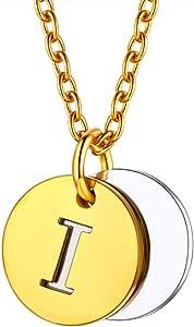 U7 イニシャルネックレスI レディース コインネックレス ゴールド ステンレス 2枚 小さめ 大人可愛い アクセサリー 女性プレゼント