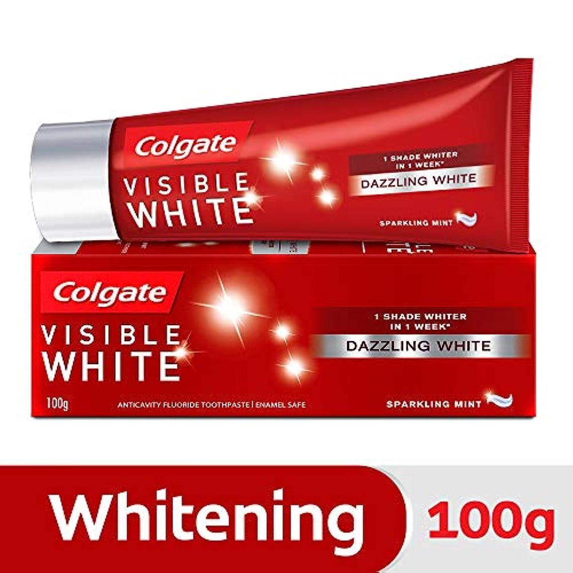 狂う右拍車Colgate Visible White Dazzling White Toothpaste, Sparkling Mint - 100gm