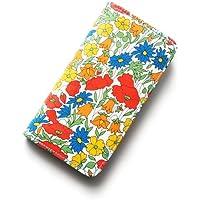 iPhoneSEケース iPhone5sケース 手帳型 リバティ ポピー&デイジー(オレンジ)コーティング SHOKO MIYAMOTO かわいい おしゃれ マグネット無しでカード安全 スマホケース アイフォンケース Liberty