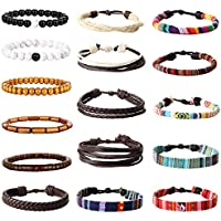 Yadoca 16 Pcs Leather Wood Bead Bracelet Tribal Ethnic Hand Knit Boho String Bracelet Men Women Jewelry Wristbands