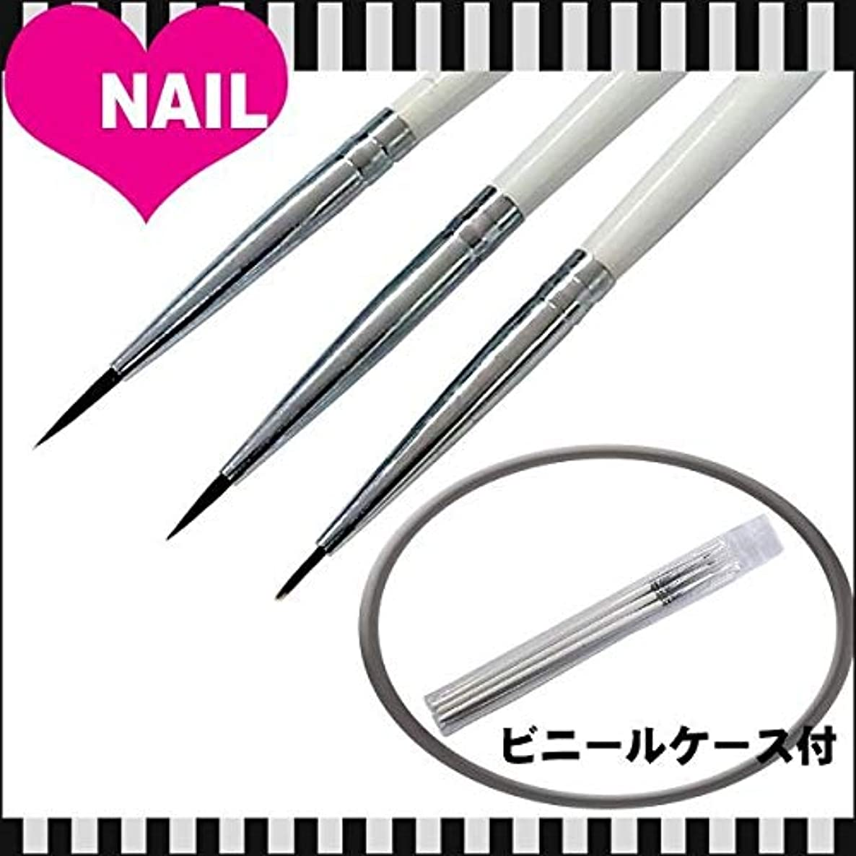 冷淡な山誇張するネイル用 ジェルブラシ デザインアート筆 3本セット