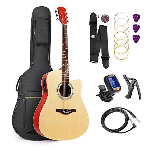 """Lightwish ギターセット EQ内蔵 41"""" フルサイズ エレクトリックアコースティックギター"""