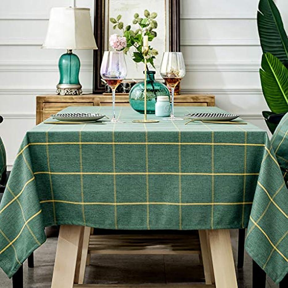 シプリーまたね恥格子縞のテーブル クロス,長方形 綿 テーブル防塵 洗える ダイニング用テーブルカバー コーヒーテーブルクリスマスの装飾-緑 130x220cm