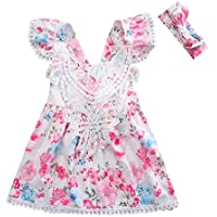 Canis Baby Girls' Cap Ruffle Sleeve Lace Floral Dress with Headband Set