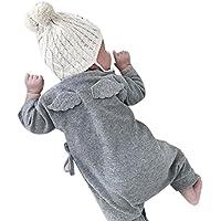 Aliciga ロンパース 新生児 ベビー服 かわいい 翼 カーディガン 無地 長袖 男の子 女の子 着ぐるみ Vネック Oネック ワンピース 柔らかい おしゃれ 写真 撮影 子供服 目立つ 天使コスチューム 出産お祝い 3ヶ月-18ヶ月 (グレー(カーディガン), 70)