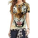 レディース夏のTシャツクレイジータイガーヘッドユニークな動物プリントトップシャツXL