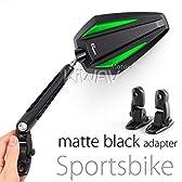 MAGAZI マガジ アキレス バイクミラー カウリングミラー フェアリングミラー 緑色  フェアリング取付 マットブラックのアダプター  一対