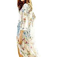 Romacci Women's Floral Print Kimono Cardigan Sheer Chiffon Blouse Loose 3 4 Sleeves Shawl Beach Cover ups