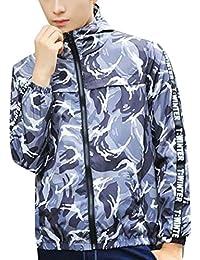 chenshiba-JP メンズカジュアル軽量迷彩スポーツフードジップジャケット