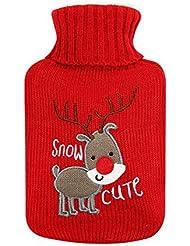 可愛い鹿のゴム製ホットウォーターボトル - 500ML