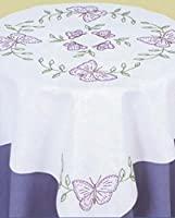 """Stamped White Perle Edge Table Topper 35""""X35""""-Butterflies (並行輸入品)"""