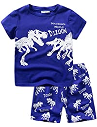 dizoon(ディゾン)パジャマ キッズ 子供 tシャツ 半袖 綿100 無地 子供服 男の子 150 赤ちゃん服 寝間着 子供の日 青い 恐竜 1-13歳 90 100 110 120 130 140 150 160