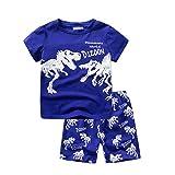 dizoon(ディゾン)パジャマ キッズ 半袖 綿100 tシャツtシャツ 無地 子供服 男の子 150 赤ちゃん服 寝間着 子供 青い 恐竜 1-13歳