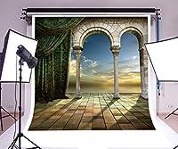 laeacco 8x 8ftビニール写真背景ロマンチックPalaceアーチ型ドアView SunsetカーテンSqureタイルシーンウェディングパーティー写真撮影ビデオスタジオ小道具2.5X 2.5M