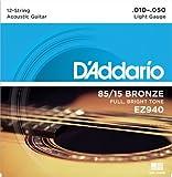 D'Addario ダダリオ アコースティックギター弦 85/15アメリカンブロンズ Light 12弦 .010-.050 EZ940 【国内正規品】