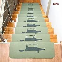 Ozzptuu 13PCS Fox Pattern Carpet Stair Treads Step Mats Home Decor Self-adhesive Anti-Skid Floor Staircase Carpets Protector Mats Rug (Green) [並行輸入品]