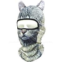 耳付き 動物柄 フェイスマスク 3D アニマル マスク 速乾 フルフェイス マスク バラクラバ 目出し帽/サバイバルゲーム・自転車・バイク・アウトドア・コスプレ (猫)