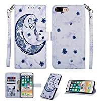 iPhone 7 Plus Case,[Drop Protection] Abtory Folio Flip Case Wallet Case [ID Credit Card and Cash Slots] with Kickstand Stand Flip Cover for iPhone 7 Plus Blue