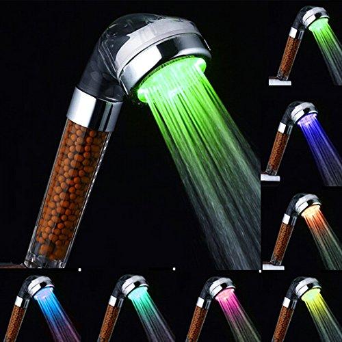 LEDシャワーヘッド、InGoo7発光色ハンドヘルド加スパシャワーヘッド、塩素除去カートリッジ、 消臭、 抗菌、 浄水、 節水 (7色)