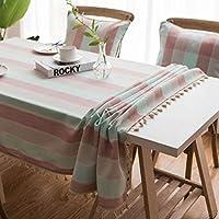 台所のための綿および麻布のテーブルクロスの縞のテーブルクロス長方形のテーブルクロスの汚れの塵の証拠の布装飾的なテーブルクロス。, C, 140x250cm