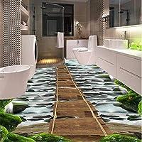 Weaeo 滝の石の木製の橋のバスルームのキッチンの歩道3Dの床ノンスリップベッドルームのリビングルームの床の壁画-200X140Cm