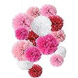 15個 ペーパーフラワー ペーパーポンポン 20cm/25cm/35cm カラフル 5色混合 結婚式 誕生日飾りつけ 装飾 パーティー イベント インテリア デコレーション (ピンク)