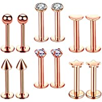 IPOTCH 12 Pieces Stainless Steel Nose Ring Bar Nose Stud Lip Labret Piercing Jewelry Kit for Women Girls Tragus Ear Piercing Set