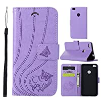 Moonmini Huawei P8 Lite 2017 P9 Lite 2017 Wallet Leather Case with Protective Durable 優れた Shell Folio flip Cell Phone Cover Bag with Card Slots,Cash Pocket,Light Purple