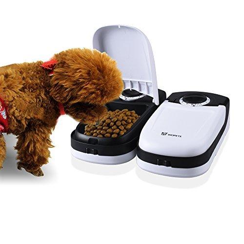 WOpet 猫自動給餌器 フード 自動給餌器 自動給餌機 餌入り 犬 猫 オートオシャレ かわいい オシャレ エサ入れ ペットおるすばんフィーダー2食分