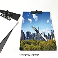 印刷者 クリップボード 用箋挟 クロス貼 A4 短辺とじ 市 ファイルボード (2個)ニューヨーク市ミッドタウン高層ビルブルーグリーンアイボリーのセントラルパークとマンハッタンのスカイライン