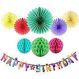 Happy誕生日バナーをTissue紙ファンハニカムボールベビーシャワーパーティーレインボーWishesの誕生日パーティーデコレーションEasy Joy