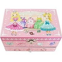 【Lily&Ally】 ラッピング済み リリーアンドアリー プリンセス オルゴール付き キッズジュエリーボックス 宝石箱(曲目:虹の彼方に Over the Rainbow) Princess Musical Children's Jewelry Box