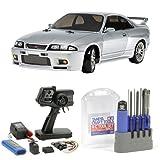 【セット商品】 タミヤ 1/10 電動RCカーシリーズ No.604 NISSAN スカイライン GT-R R33 + ファインスペック 2.4G 電動RCドライブセット + RCツール8本セット