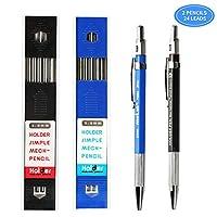 Green Convenience 2.0mmシャープペンシル 2本 2ケース2mm芯リフィル ドラフトドローイング 大工 クラフト アートスケッチ用 ブルーとブラック